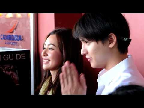 James Jirayu & Bella ranee Famous Thai actor arrived to Cambodia Phnom Penh: at cambodia airport