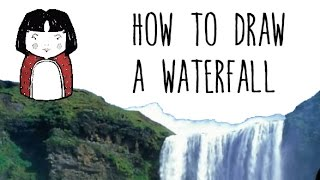 How to draw a Waterfall - drawing with kids