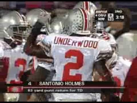 Santonio Holmes 63 yard punt return to tie the game between Northwestern and Ohio State