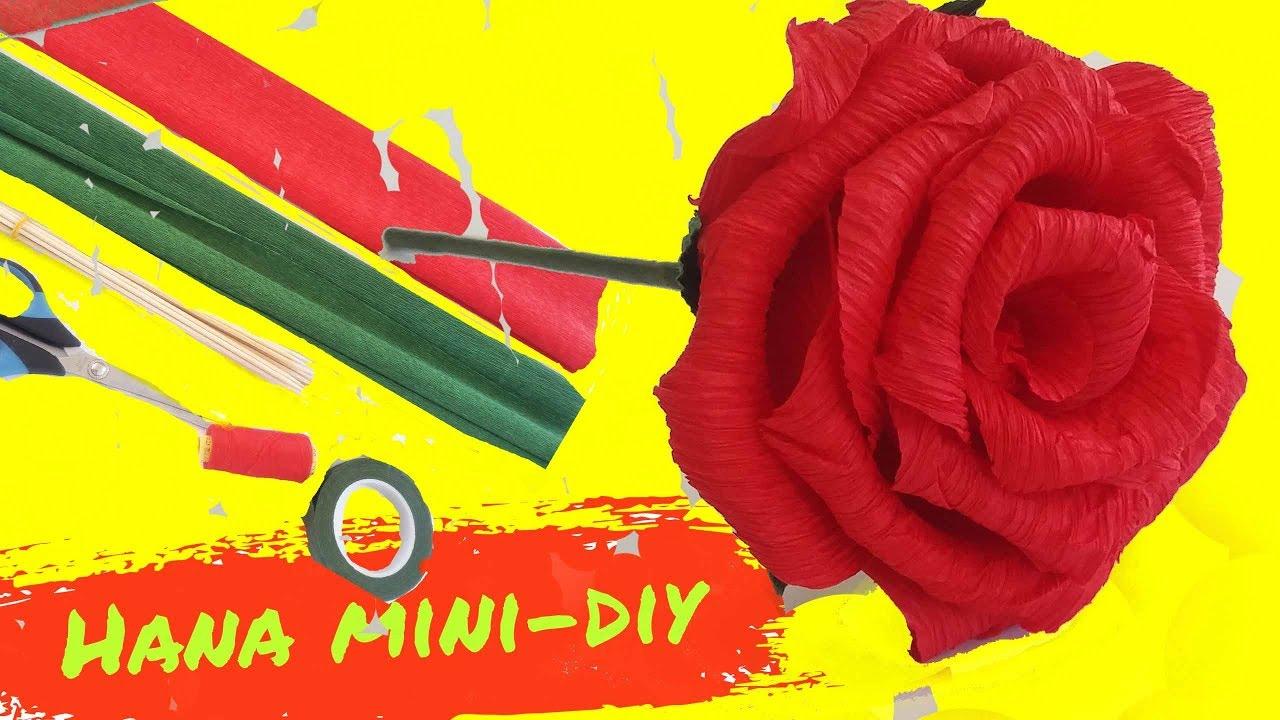 Cách làm hoa Hồng bằng giấy Nhún | Guide to making Rose flowers | Hana Mini DIY