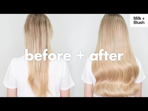 before-and-after-using-milk-blush-hair-extensions