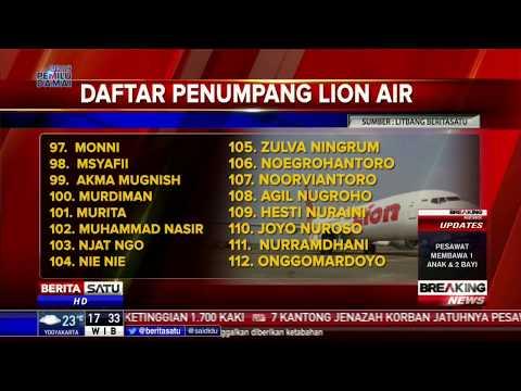 Berikut Daftar 181 Penumpang Lion Air