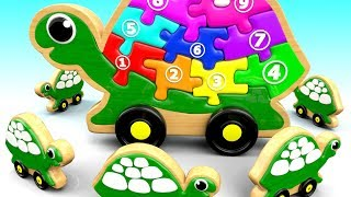 Learning Numbers & Colors for Children with Wooden Turtle Puzzle Toys Kids Toddlers Educational