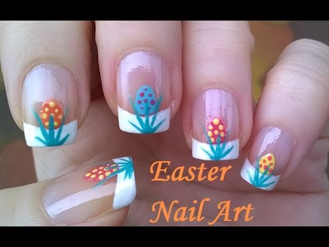 Easy Easter Nail Art Design Dotting Tool Eggs French Manicure