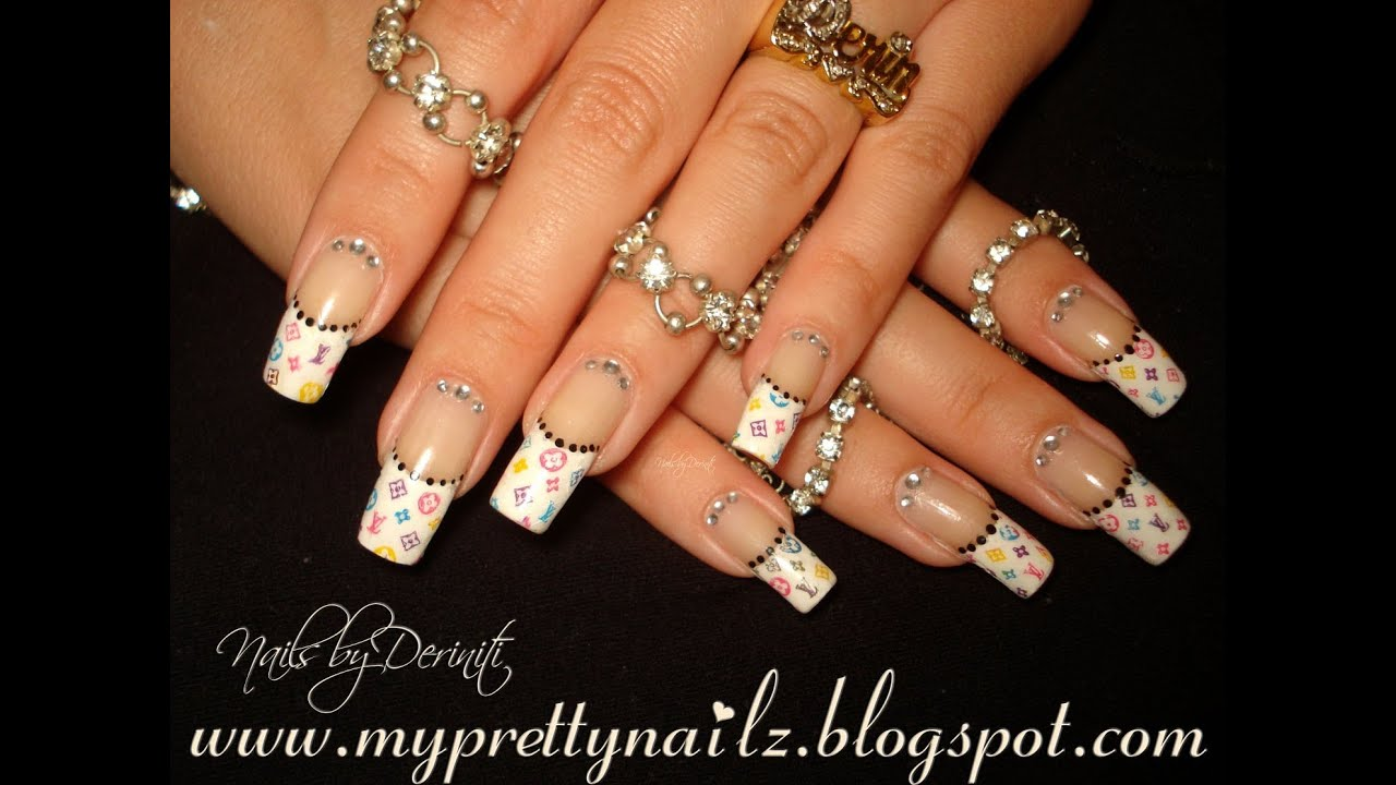 LOUIS VUITTON FRENCH TIPS LV PRINT EASY NAIL ART TUTORIAL - YouTube
