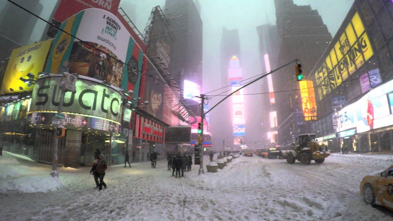 Dji Phantom 4 >> Jonas Snow Storm Blizzard 4K Tempestade de Neve New york Nova Iorque Times Square Gopro4 - YouTube