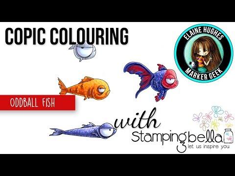 Copic Colouring Fish - Stamping Bella Oddball Fish Rubber Stamp Set