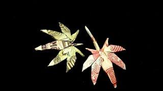 How to fold a Money Origami Cannabis Leaf / Hướng dẫn gấp lá.. Diêu bông từ tiền Việt