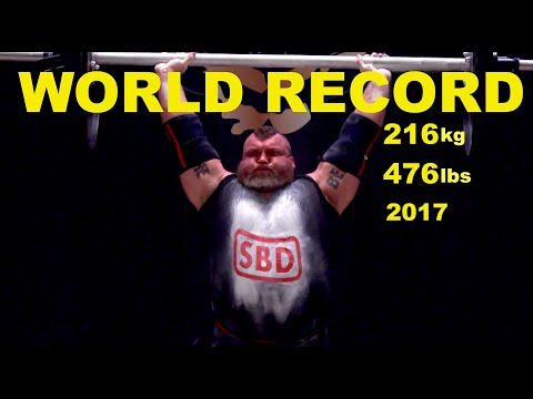 WORLD RECORD | Eddie Hall Axle Press World Record 216 Kg/476 Lbs