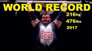 WORLD RECORD   Eddie Hall Axle Press world record 216 kg/476 lbs