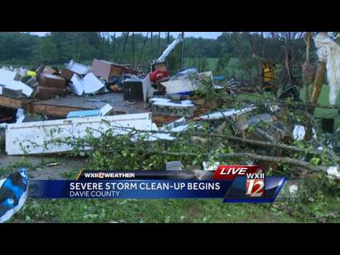 Severe weather clean-up begins in Davie County