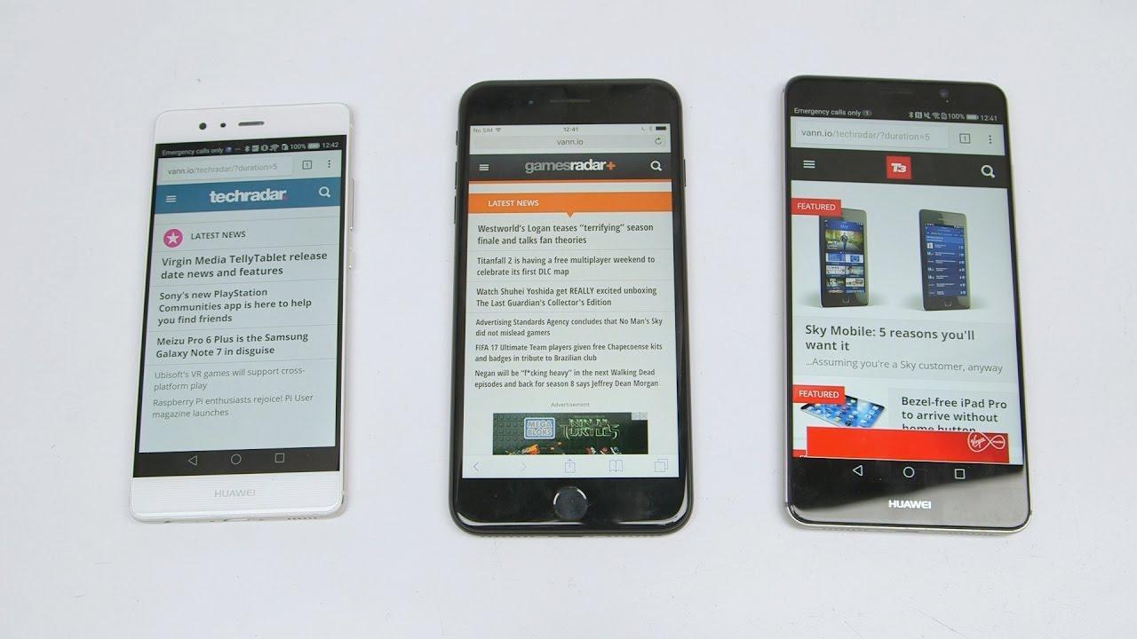 Huawei Mate 9 Vs Iphone 7 Plus Vs Huawei P9 Battery Test Youtube