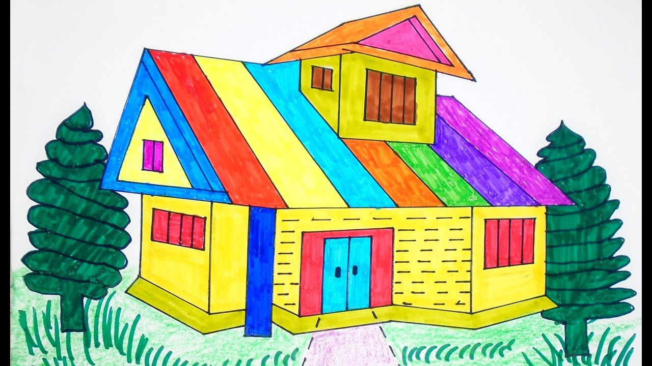 How to Draw House Coloring Pages Rainbow color Drawing