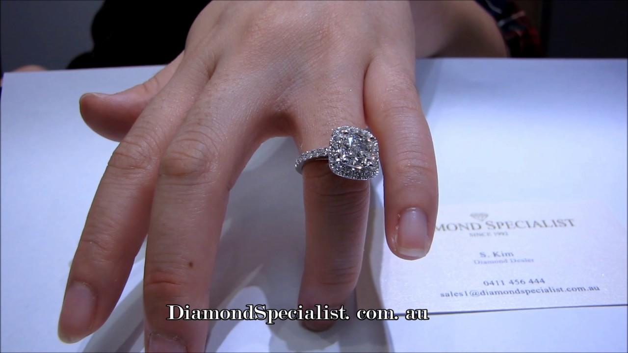 1 5 Carat Cushion Cut Diamond With Halo Setting