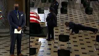 Ruth Bader Ginsburg's Trainer Does Pushups at Her Casket