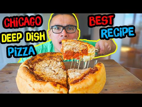 CHICAGO DEEP DISH PIZZA   Recipe   MUKBANG