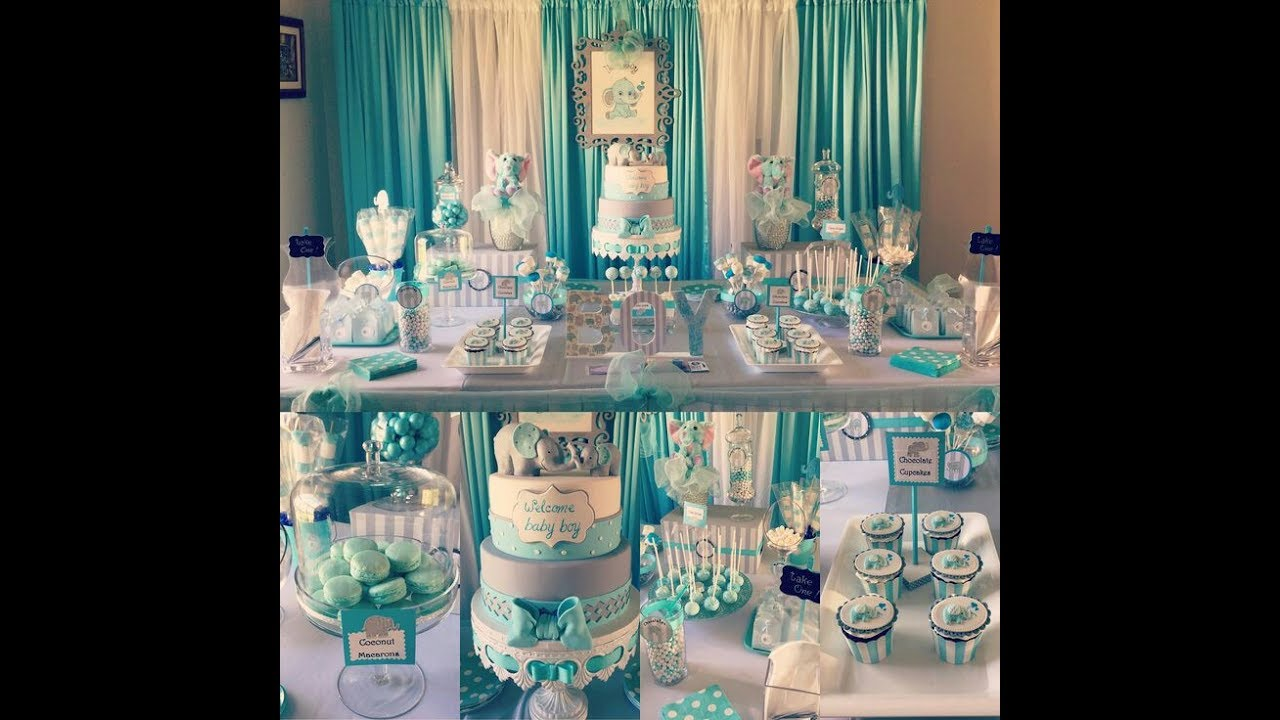 Baby shower ni o tematica elefantes party 2017 - Mesa de baby shower nino ...