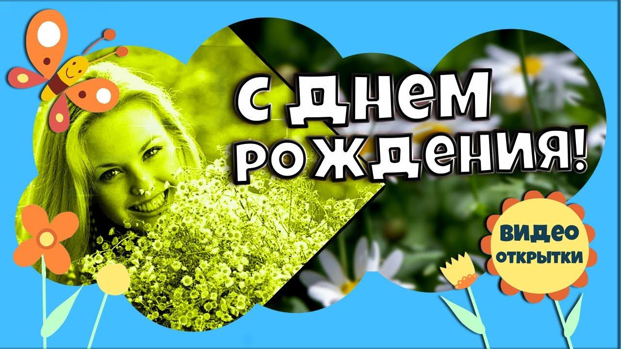 Летний ДЕНЬ РОЖДЕНИЯ. Красивое ромашковое поздравление с Днем рождения женщине летом. Видео открытка