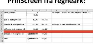 noget af folkeskolens matematik klares med Excel regneark