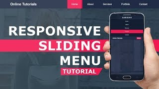 Responsive Sliding Menu -  Mobile Navigation Bar with HTML , CSS and Javascript  - Responsive Design