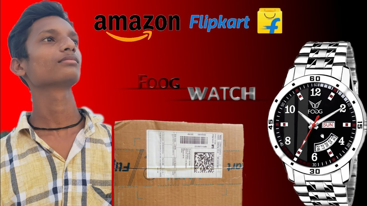 how to Flipkart product unboxing Fogg watch product review  Fogg 2058-BK Printed Black Day and Date