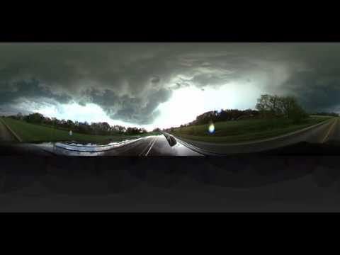 360 video of tornado warned supecell near Salina, KS yesterday