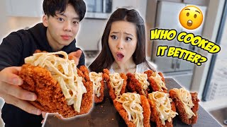 SIBLINGS COOKING CHALLENGE: FRIED CHICKEN TACO SHELLS!