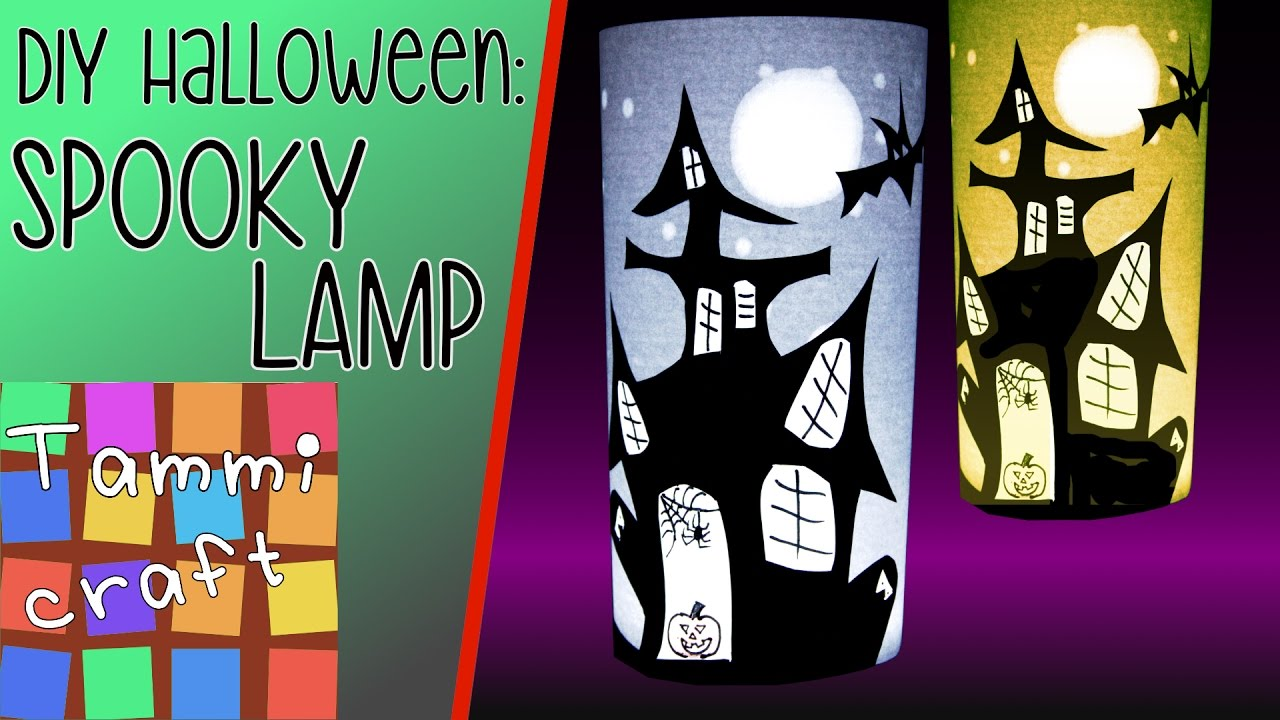 how to make a spooky halloween lamp - haunted house silhouette