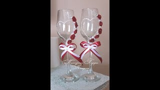 Декор свадебных бокалов своими руками/бокалы для молодоженов мастер класс/wedding glasses