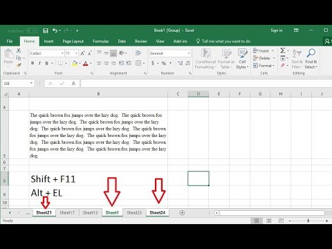 MS Excel: Easy Shortcut key to Insert Worksheet & Key to Delete Multiple or All Sheets