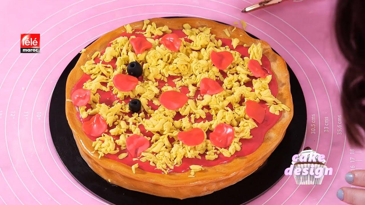 كيك ديزاين: كيك بعجينة السكر على شكل بيتزا  و الحشوة سهلة و بسيطة
