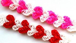 ❤ Браслет СЕРДЦА из резинок RAINBOW LOOM ❤ Как плести браслет с сердечками ❤  Heart Bracelet