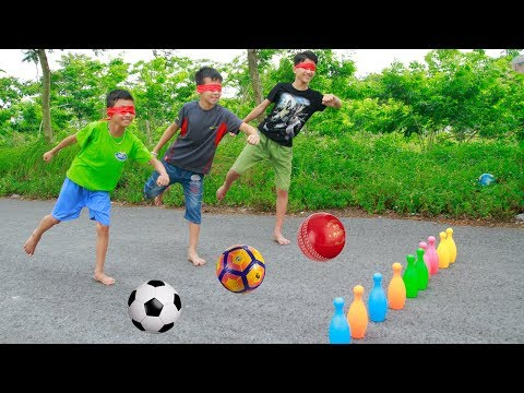 Kids go to School Learn to Blindfold playing Football | Song for Childrens