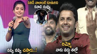 Rashmika Mandanna Hilarious Fun With Nithin || Bheeshma Movie Pre Release Event || Life Andhra Tv