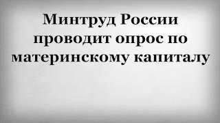 Минтруд России проводит опрос по материнскому капиталу