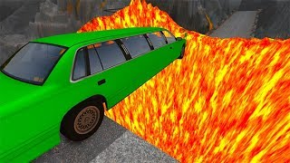 Beamng Drive - Open Bridge Jumping Over Hot Volcano Car Crashes