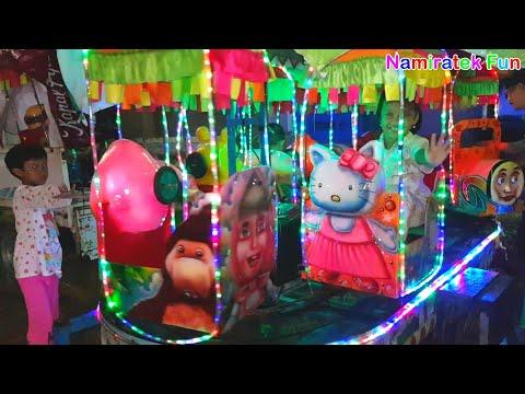 Bermain Mainan Anak di pasar malam Naik Odong-odong Kereta Api Anak Karakter Hewan Lucu