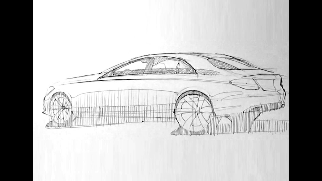 Line Drawing Of Car : Adding color and value to a line drawing car body design