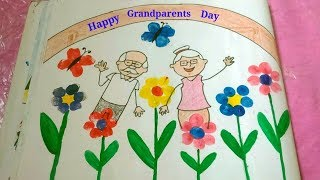 Grandparents day drawing for kids  How to draw grandparents drawing  Easy drawing for kids