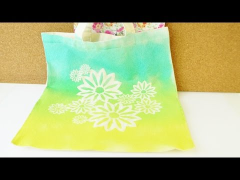 DIY Tasche mit Farbverlauf für den Sommer gestalten | Tolles Blumen Muster | Super einfach & schnell