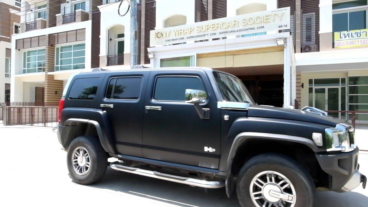 Matt Black Wet Look Hummer H3 Wrap Car Tony Wrap Supercar Society