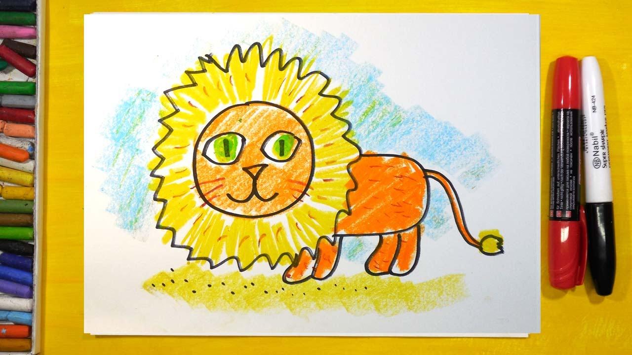 Как нарисовать Льва, Урок рисования для детей от 3 лет ...