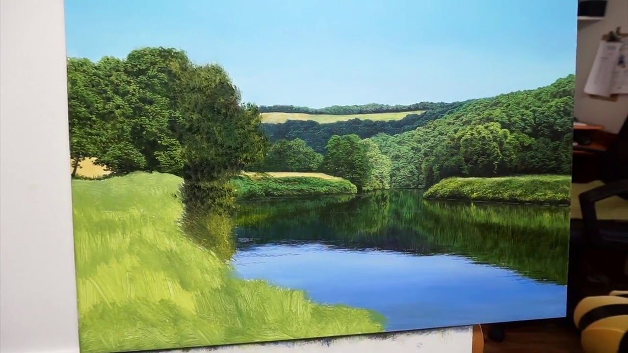 Oil on panel painting the river wye with michael james for Michael james smith paintings