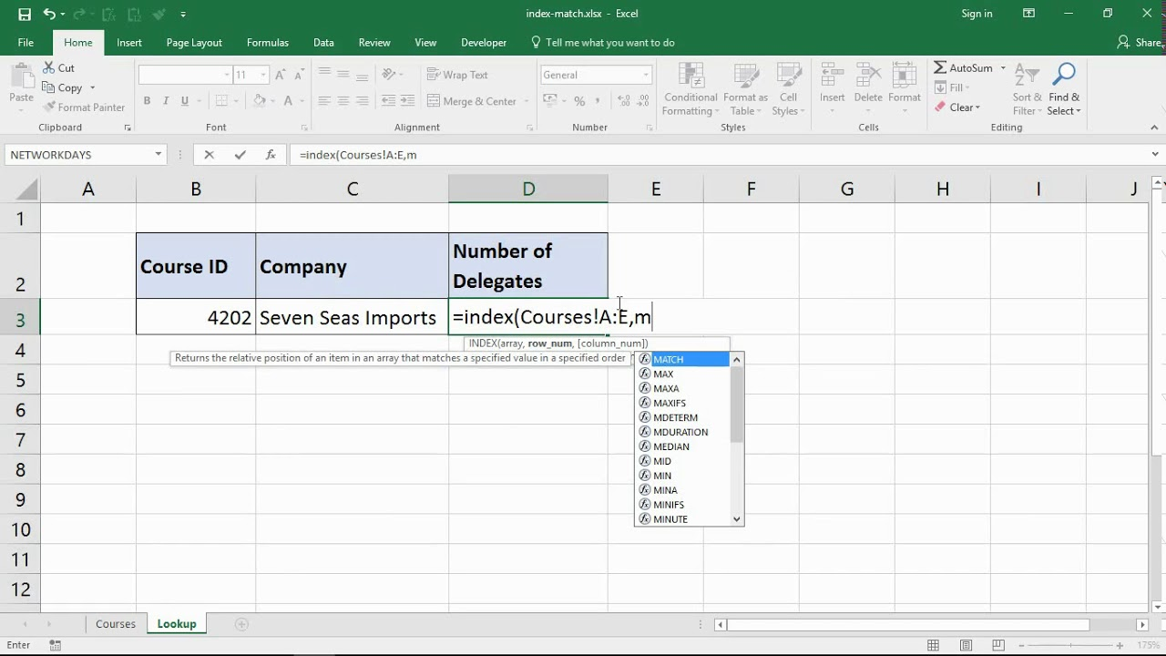 excel index    match function for an advanced lookup