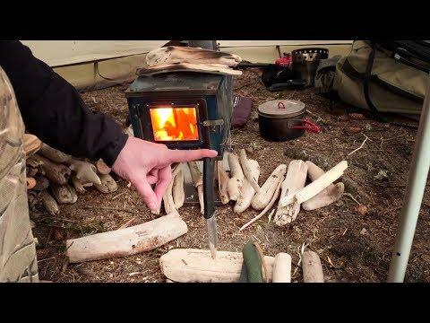 Real Tent Stove Wood Tips In Heavy Rain | Coastal Isolation