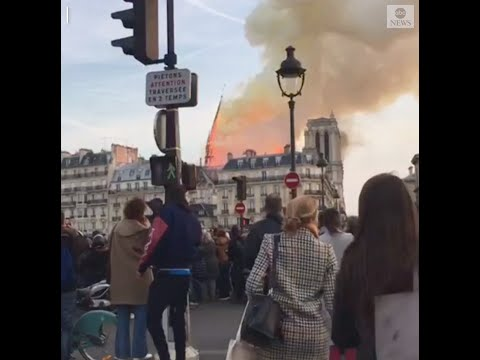 Notre Dame's spire collapses amid raging fire | ABC News