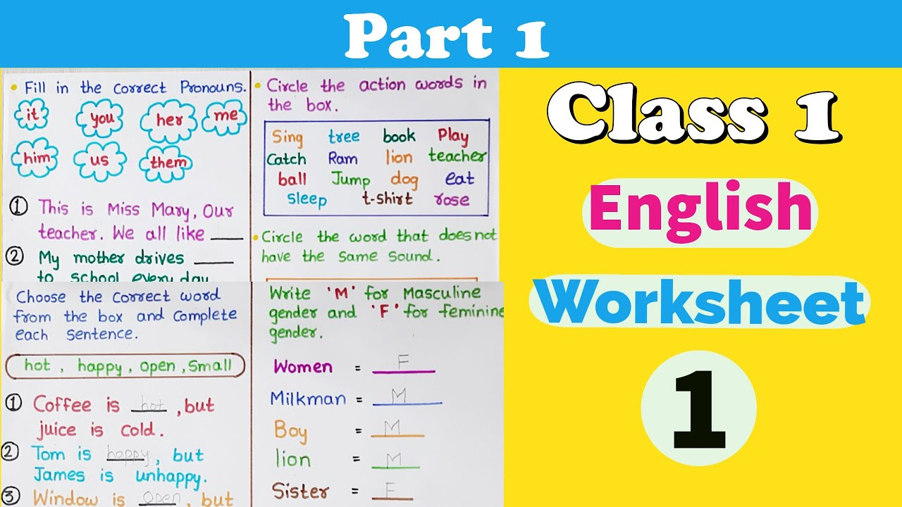 medium resolution of Part #1 । Class 1 English Worksheet । Grade 1 English Worksheets । CBSE  class 1   RKistic - YouTube