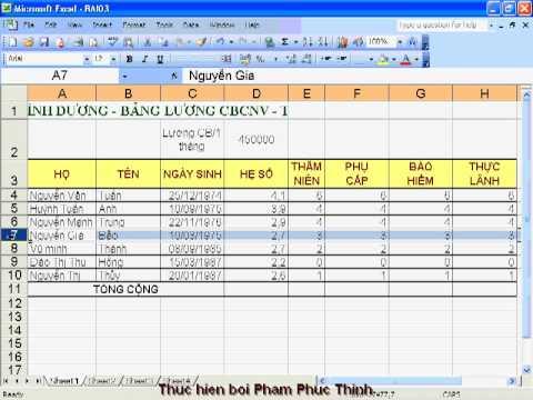 Hướng dẫn học Excel - bài tập 3