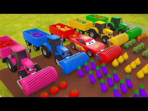 MCqueen Cars Tractor Farm Vehicles Toys Vegetables for Children