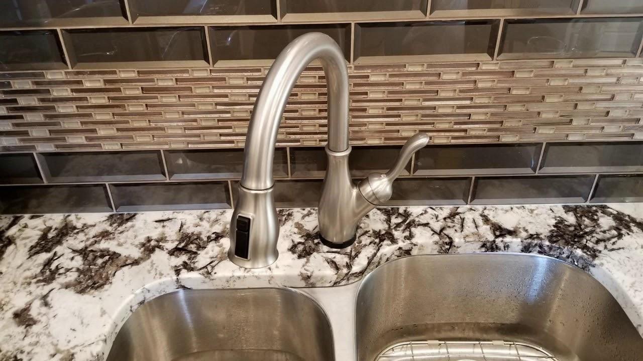 delta faucet leland single handle touch kitchen sink faucet review touch20